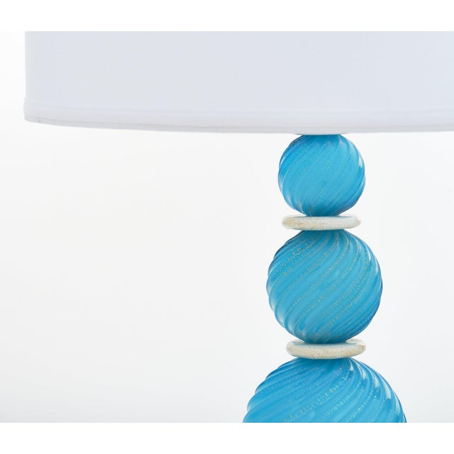 Murano Glass Turquoise Lamps For Sale - Image 9 of 10
