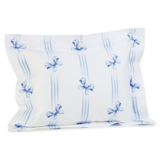 The irrepressible delight of ribbons and bows, printed in Blue, Pink or Green on White 100% Egyptian cotton sateen, 300...