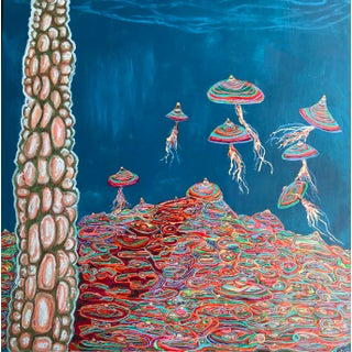 """""""Hatching Plots"""" Contemporary Surrealist Style Mixed-Media Painting by Kyle M. Evans For Sale"""