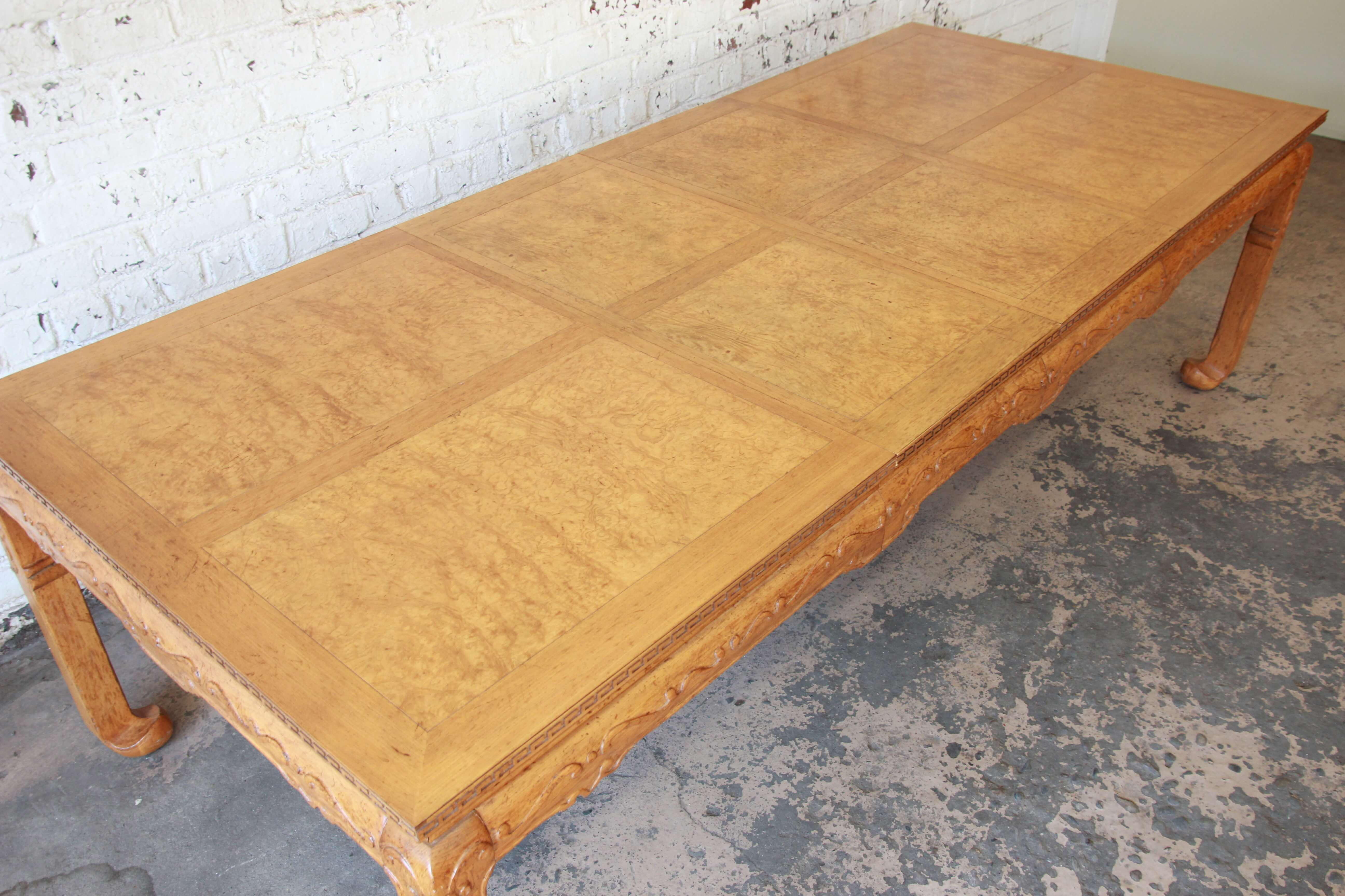 Beau Baker Furniture Burled Elm Wood Chinoiserie Extension Dining Table   Image  4 Of 12