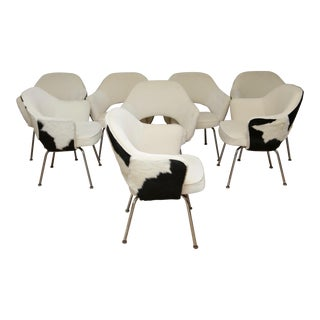 Set of 8 Knoll Executive Chairs in Cowhide For Sale