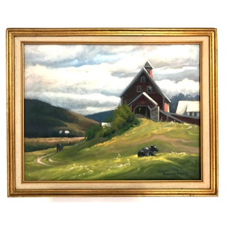 Pastoral Country Farm Painting of Barn and Cows For Sale