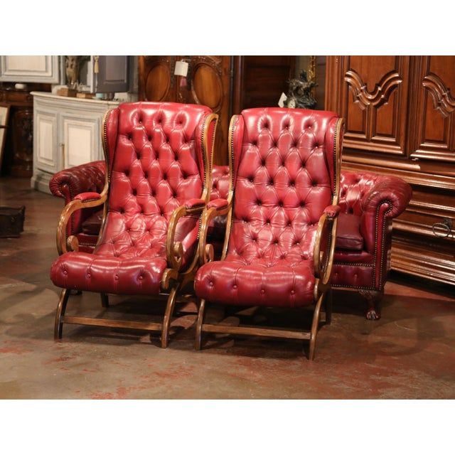 English Traditional Large Midcentury Three-Piece English Chesterfield Set With Armchairs and Sofa For Sale - Image 3 of 10