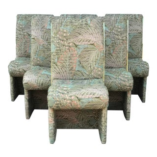 Vintage Boho Chic Upholstered Cantilever Chairs- Set of 6 For Sale