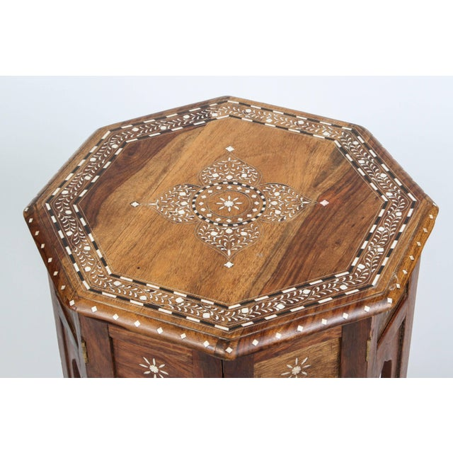 Anglo Indian folding wood bone Inlaid octagonal side Table. Fine and elegant Anglo-Indian octagonal wood table with...