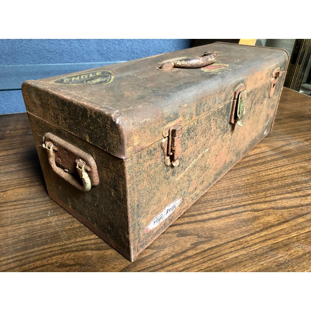 Vintage Car-Racing Crew Rusted Metal Patina Tool Box For Sale - Image 4 of 11