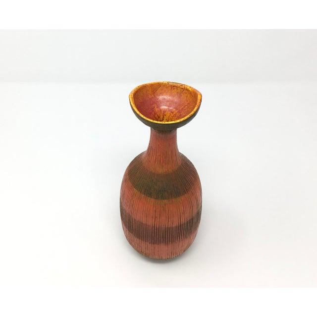 Mid-Century Modern Orange Red Ceramic Vase For Sale - Image 4 of 7