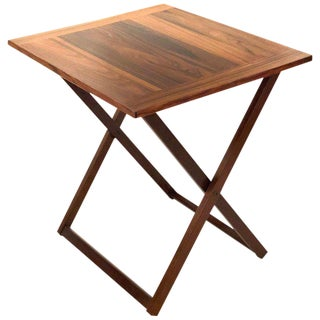 1960s Danish Modern Rosewood Folding Cocktail Table For Sale
