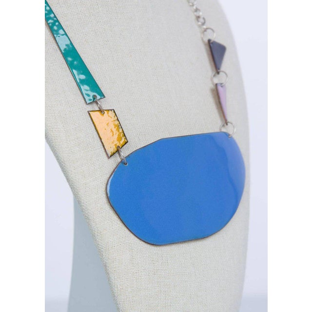 Modern Michel McNabb for Basha Gold Blue Pond Enamel Sterling Silver Chain Necklace For Sale - Image 3 of 5
