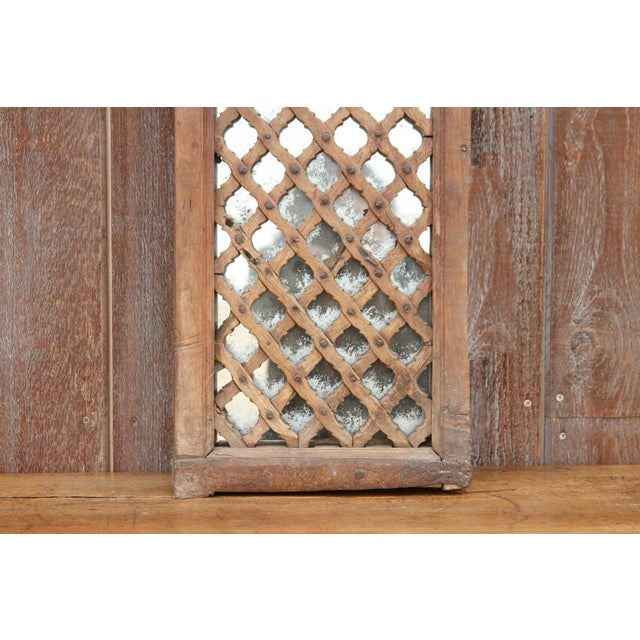 Brown Antique Teak Jali Window Mirror For Sale - Image 8 of 10