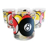 Image of Vintage Mid Century Double Old Fashioned Glasses With Pool Ball Designs - Set of 6 For Sale