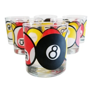 Vintage Mid Century Double Old Fashioned Glasses With Pool Ball Designs - Set of 6 For Sale