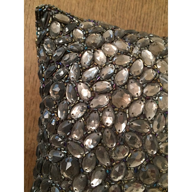 Traditional Aviva Stanoff Beaded Jewel in Smoke Pillow For Sale - Image 3 of 6