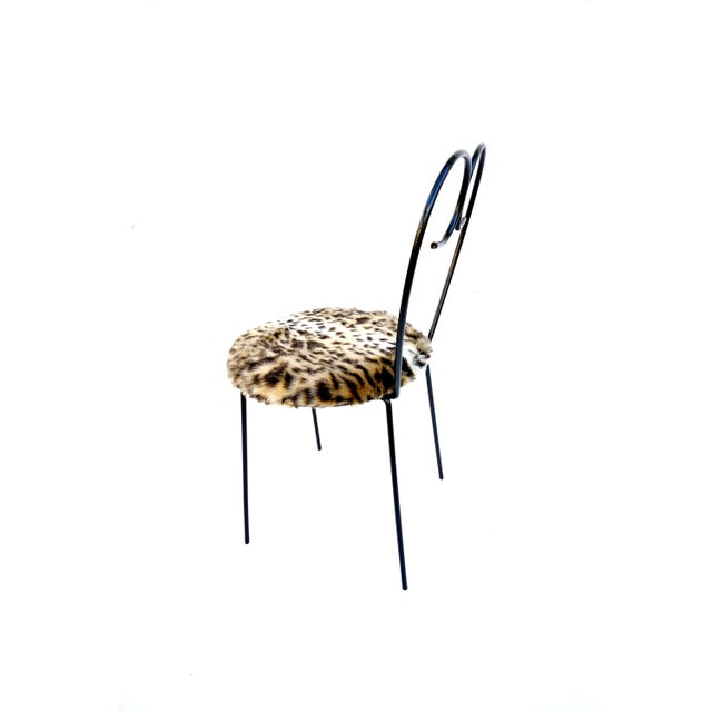 Mid-Century Heart Shaped Metal & Leopard Faux Fur Vanity Chair - Image 10 of 11