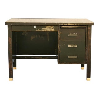 1920s General Fireproofing Single Pedestal Desk With Artisan Distressed Patina For Sale