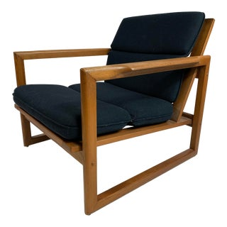 1960s Vintage J. M. Birking Danish Walnut Cube Lounge Chair For Sale