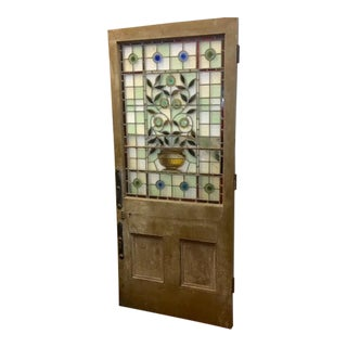 1920s English Floral Decoration Stained Glass Door For Sale