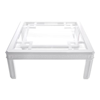 White Chippendale-Style Coffee Table For Sale