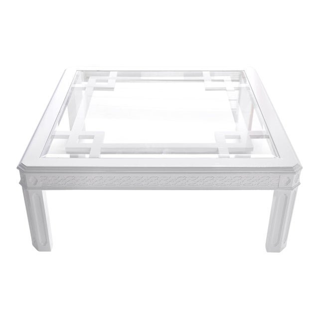 White Chippendale-Style Coffee Table - Image 1 of 6