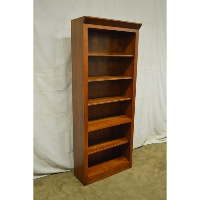Wood Ethan Allen American Impressions Solid Cherry Open Bookcases - A Pair For Sale - Image 7 of 10
