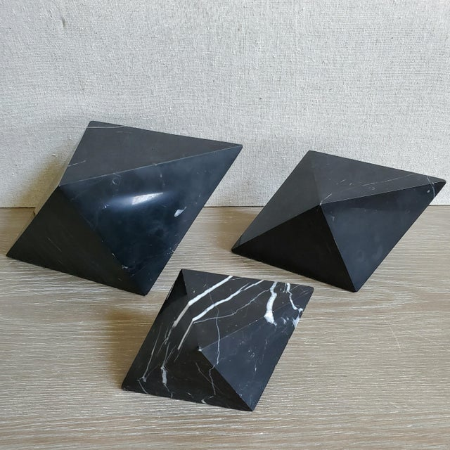 Stone Geometric Octahedron Marble Sculptures - Set of 3 For Sale - Image 7 of 12
