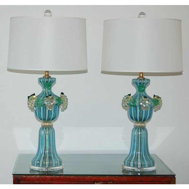 Hollywood Regency Dino Martens Vintage Murano Glass Table Lamps Turquoise For Sale - Image 3 of 10