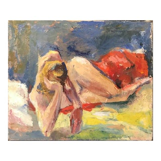 Vintage Mid-Century Original Nude Oil Painting on Canvas For Sale