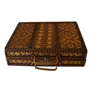 Boho Chic Vintage Wicker Two Tone Handcrafted Attache Case For Sale