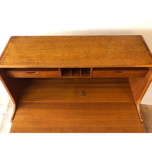 1970s Vintage Danish Modern Teak Drop Leaf Secretary Desk For Sale - Image 5 of 11