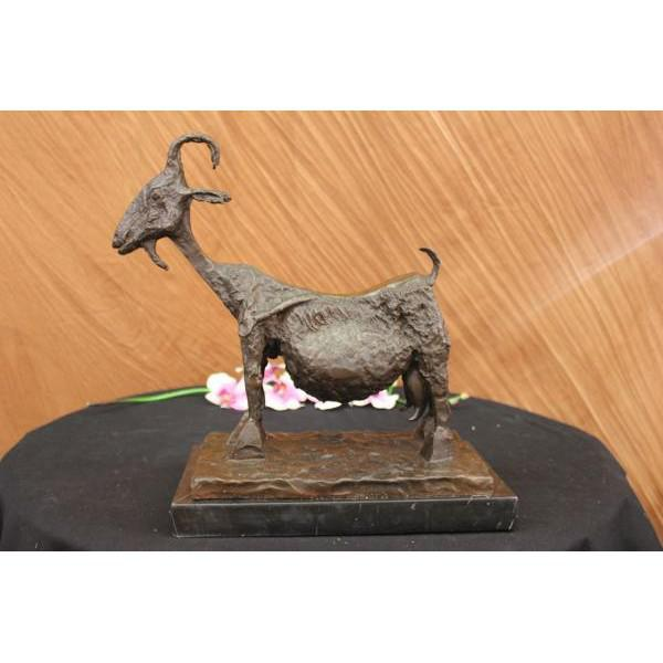 Brutalist Style Bronze Goat Sculpture on Marble Base - Image 2 of 6