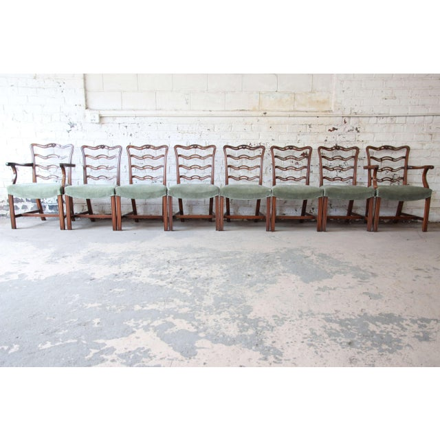 Brown Drexel Heritage Banded Mahogany Double Pedestal Extension Dining Table With Eight Chairs For Sale - Image 8 of 13