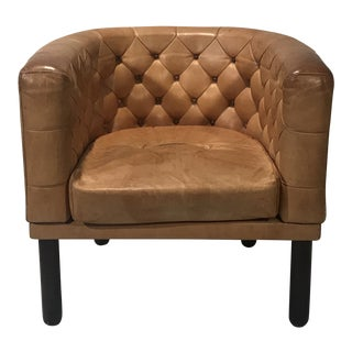 1960s Vintage Cassina Figli DI Amedeo Tufted Leather Club Chair For Sale
