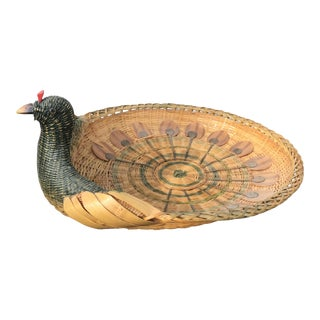 20th Century Boho Chic Natural Fiber Woven Peacock Tray For Sale