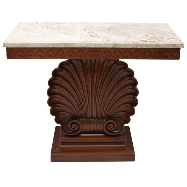Shell Motif Mahogany Console Table by Edward Wormley for Dunbar Furniture For Sale