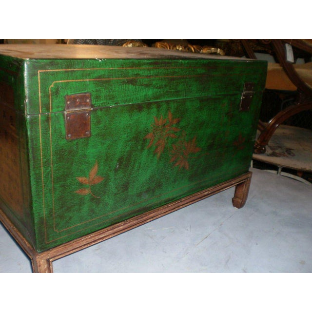 Chinese Green & Gold Leather Trunk - Image 5 of 6
