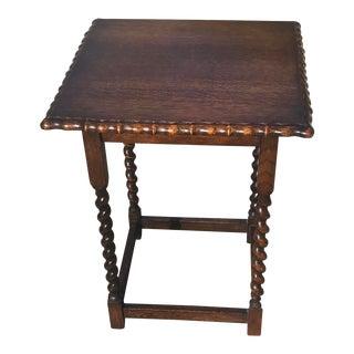 Vintage English Barley Twist Lamp Table For Sale