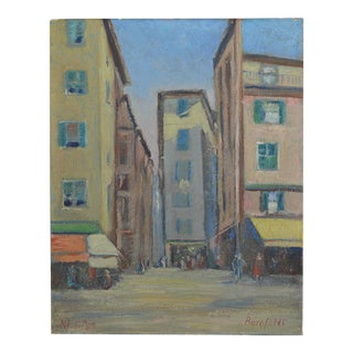 Vintage 1920s Oil Painting of Nice, France by Charles Bergfeldt For Sale