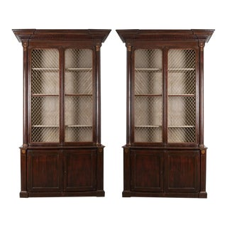 Pair of 19th Century English Regency Library Bookcases For Sale