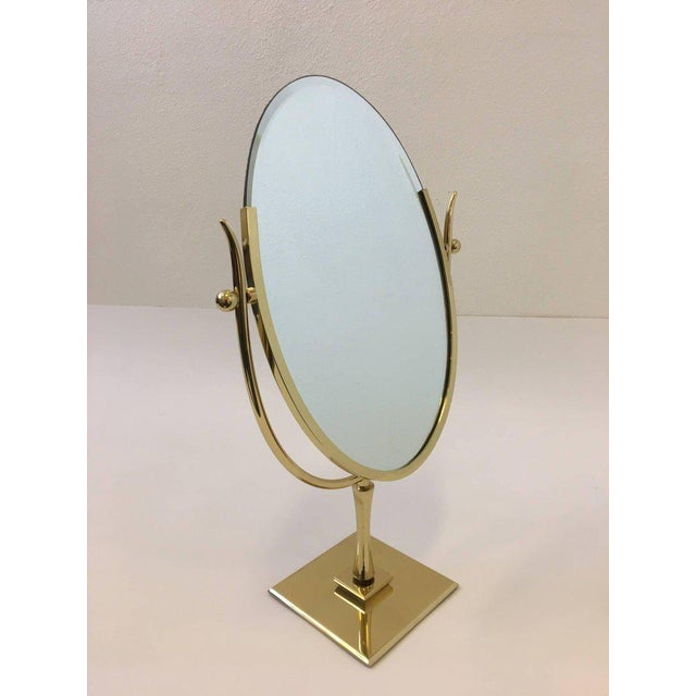 Polish Brass and Leather Vanity Mirror by Charles Hollis Jones For Sale - Image 10 of 11