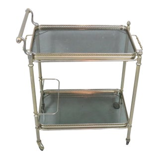Mid 20th Century French Brass Serving Cart For Sale