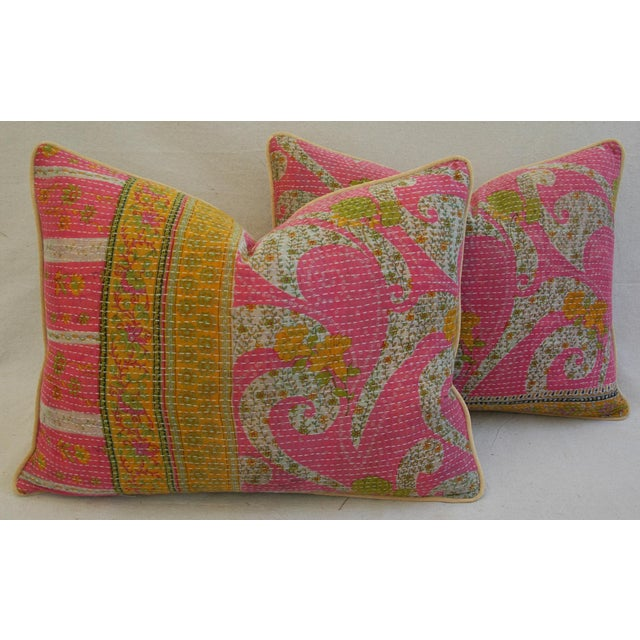 Vintage Kantha Textile Pillows - a Pair - Image 2 of 11