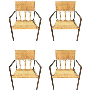 Four Adrien Gardere Woven Bamboo and Rattan Chairs