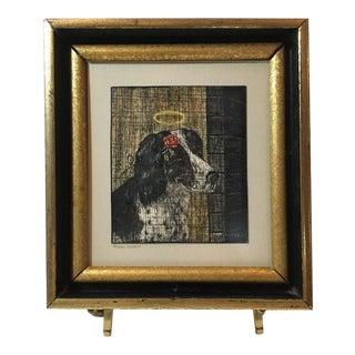 """Atlanta Rosie Clark """"Homeowner"""" Ink Scratchboard Springer Spaniel Dog Art, 1972 For Sale"""