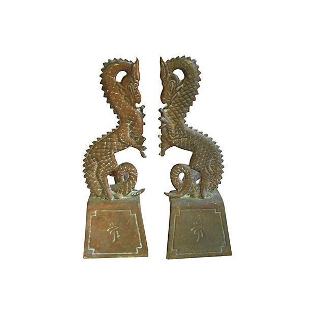 1930s Brass Dragon Fireplace Andirons - Pair - Image 1 of 5