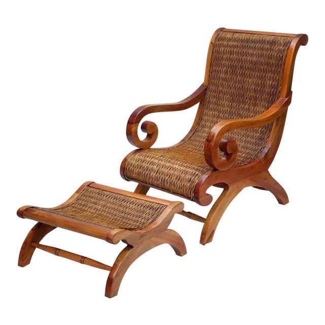 1960's Vintage West Indies British Colonial Style Teak & Cane Plantation Chair & Ottoman For Sale
