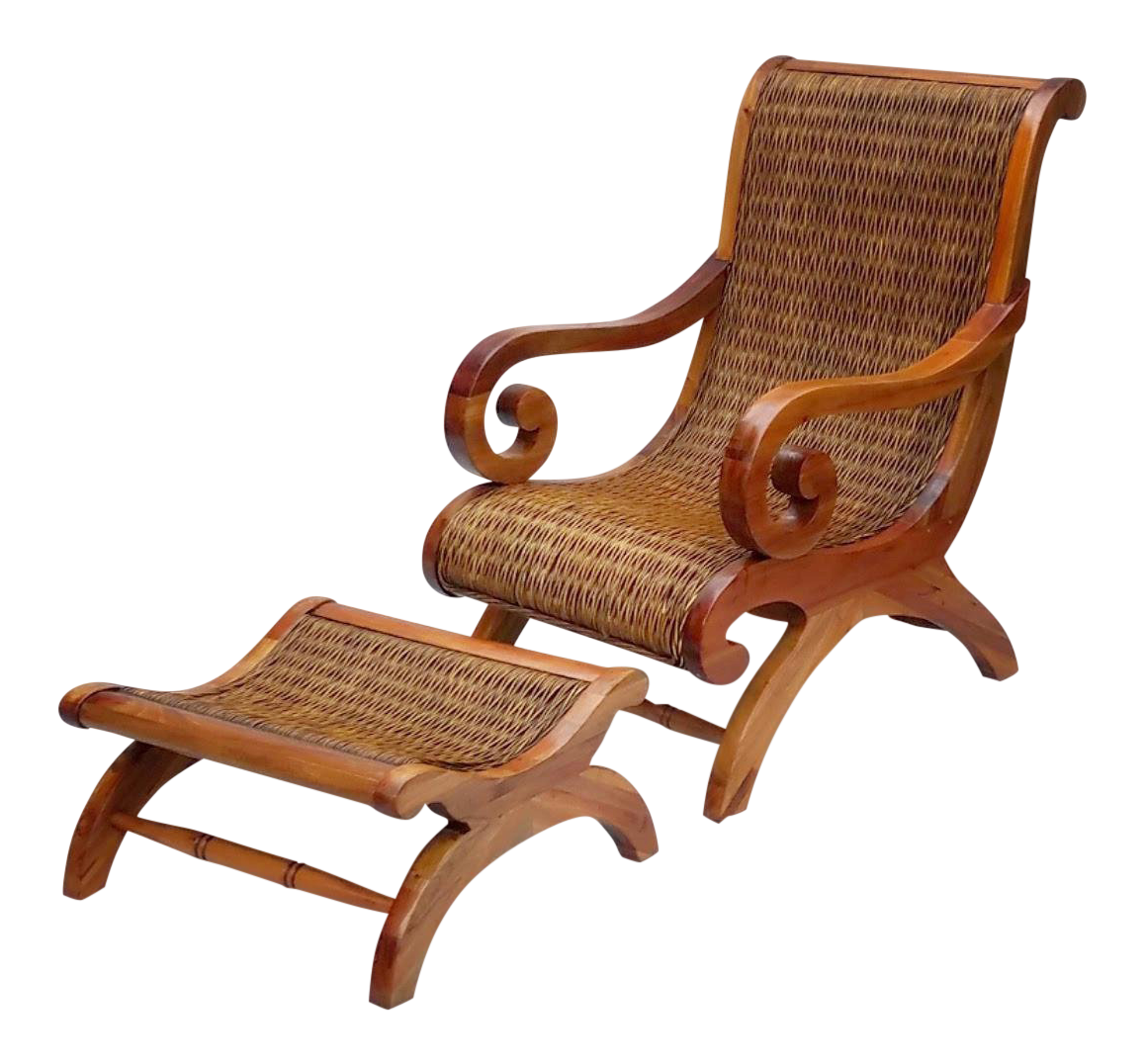 1960u0027s Vintage West Indies British Colonial Style Teak u0026 Cane Plantation Chair u0026 Ottoman | Chairish  sc 1 st  Chairish & 1960u0027s Vintage West Indies British Colonial Style Teak u0026 Cane ...