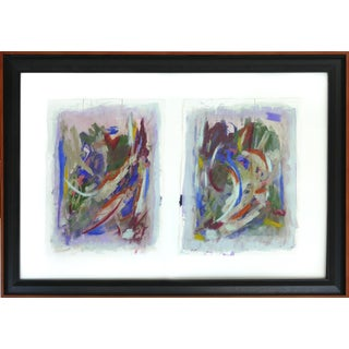 Large Abstract Signed Diptych Acrylic on Paper Dated 2014, Framed Under Glass For Sale