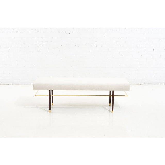 Harvey Probber brass frame bench in white boucle, 1950. Brass and mahogany frames. Fully restored and reupholstered in...