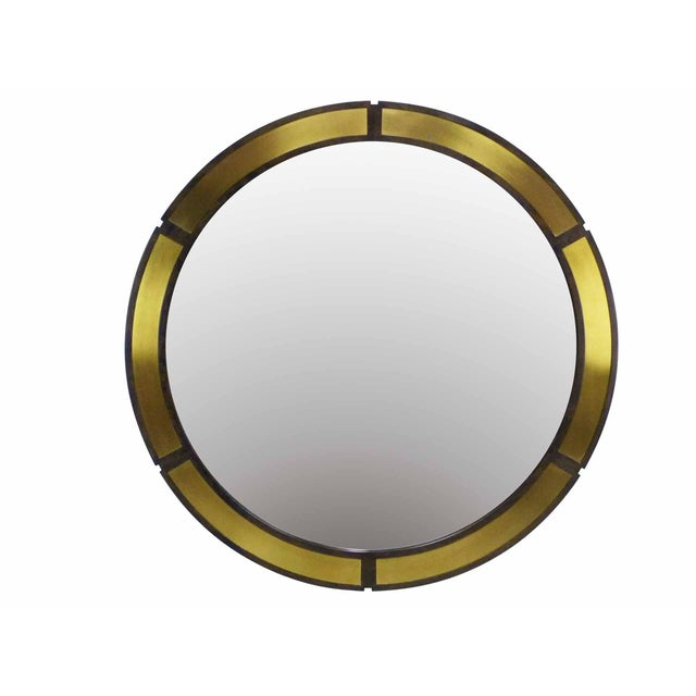 "Large 42"" Round Mirror With Brass Plates - Image 1 of 6"
