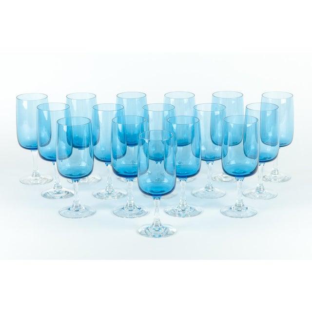 Art Nouveau Vintage Crystal Wine / Water Barware Glasses - Set of 16 For Sale - Image 3 of 9